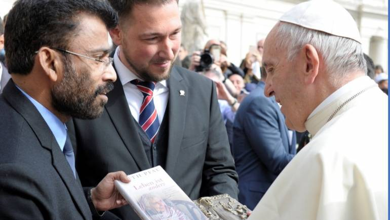 Mr. Mervyn Lobo- CEO MALC presents a book of Dr. Ruth Pfau (Late) to His Holiness Pope Francis.