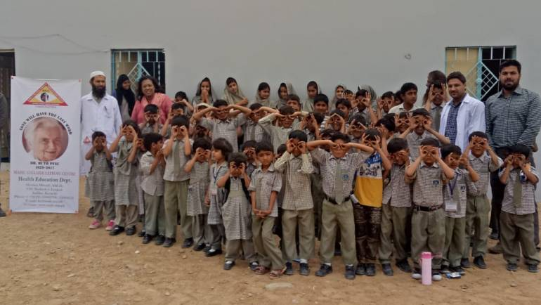 Eye screening and awareness session on health & hygiene at Galaxy Primary School, Adam Goth Karachi