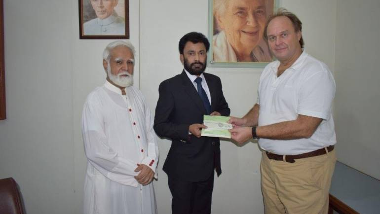 MALC receives cheque donation from His Excellency Engr. Eugen Wollfarth, German Consul General, Karachi on behalf of Pakistan German Business Forum